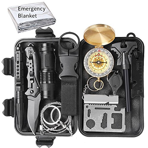 Sunba Youth Emergency Survival Kit 13 in 1, Outdoor Survival Gear Tool with Compass, Emergency Blanket, Flashlight, Tactical Pen, Wire Saw for Wilderness, Trip, Cars, Camping, Hiking