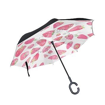 Paraguas Reversible Soloatman de Fresa con Doble Capa ...