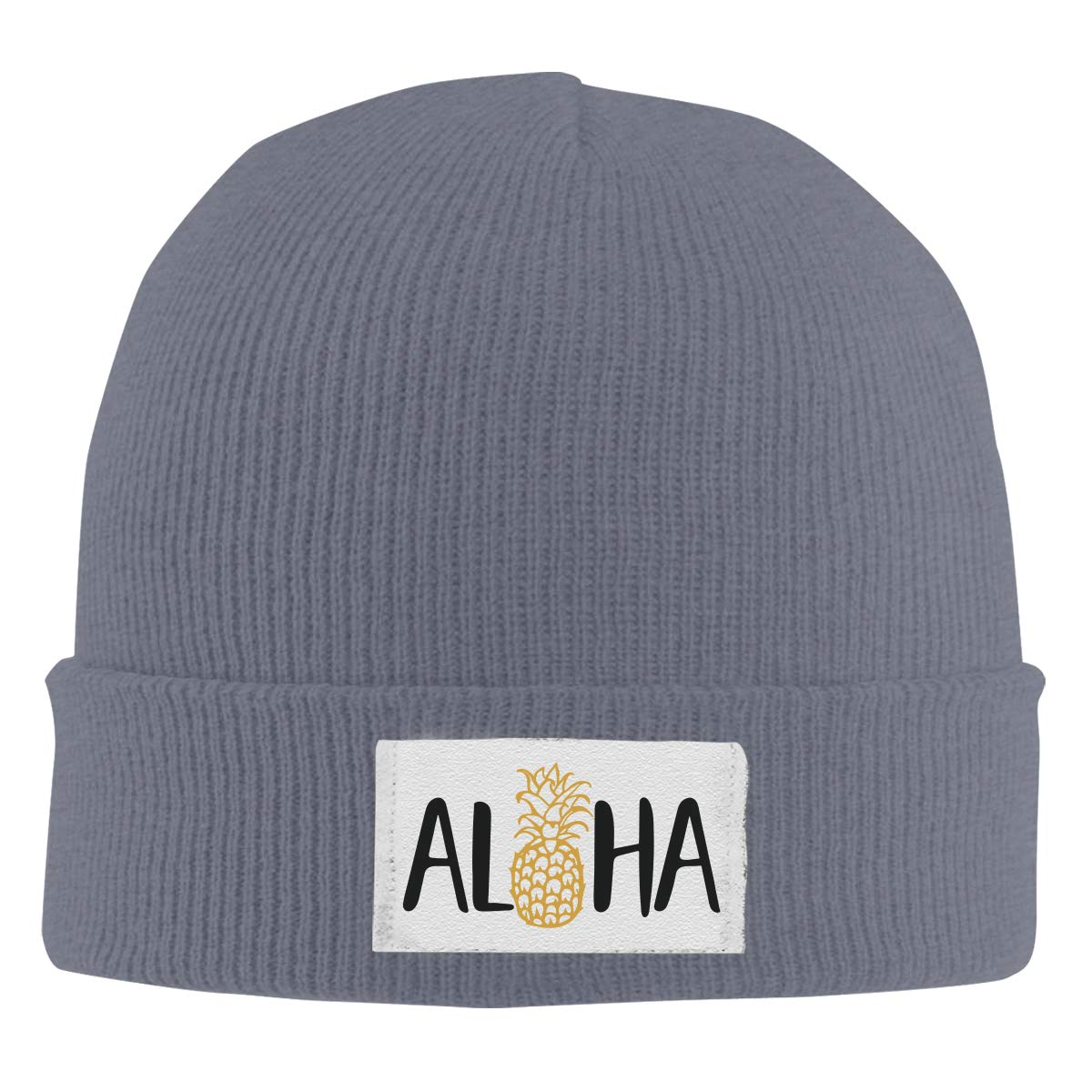 Dunpaiaa Skull Caps Aloha Beaches Pineapple Winter Warm Knit Hats Stretchy Cuff Beanie Hat Black