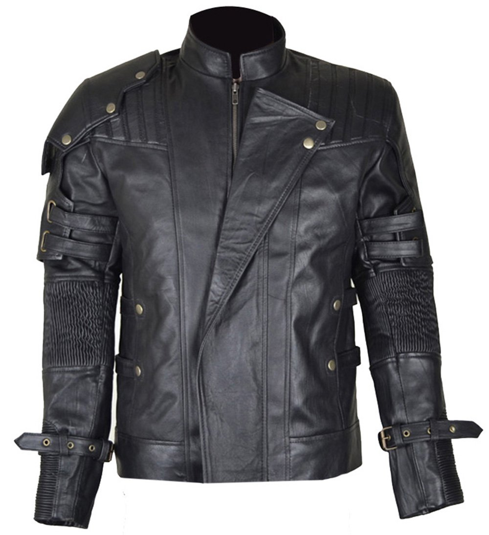 MSHC Guardians of The Galaxy 2 Star Lord Peter Jason quill Leather Jacket Black (Medium)