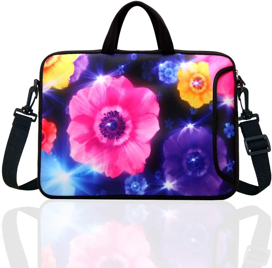 "10-Inch Laptop Shoulder Bag Sleeve Case with padded handle for 9.6"" 9.7"" 10"" 10.1"" 10.5"" Ipad/Netbook/Tablet/Reader (Colourful Flower)"
