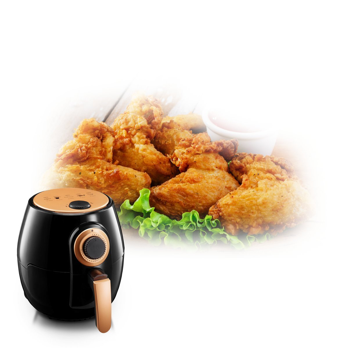 Gotham Steel Air Fryer XL 3.8 Liter with Rapid Air Technology for Oil Free Healthy Cooking Adjustable Temperature Control with Auto Shutoff As Seen on TV Dishwasher Safe with Nonstick Copper Coating