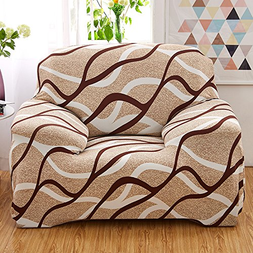 WATTA Stretch Elastic Sofa Slipcover 1 Seater Chair Sofa Couch Polyester Spandex Rhythm Stripes Printing Fabric Sofa Protector (Cover Stripe Polyester)
