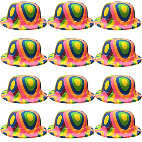 Party Hats - Bowler Derby Hat - 12 Plastic Dress Up Hats - Costume Accessories by Funny Party Hats ()
