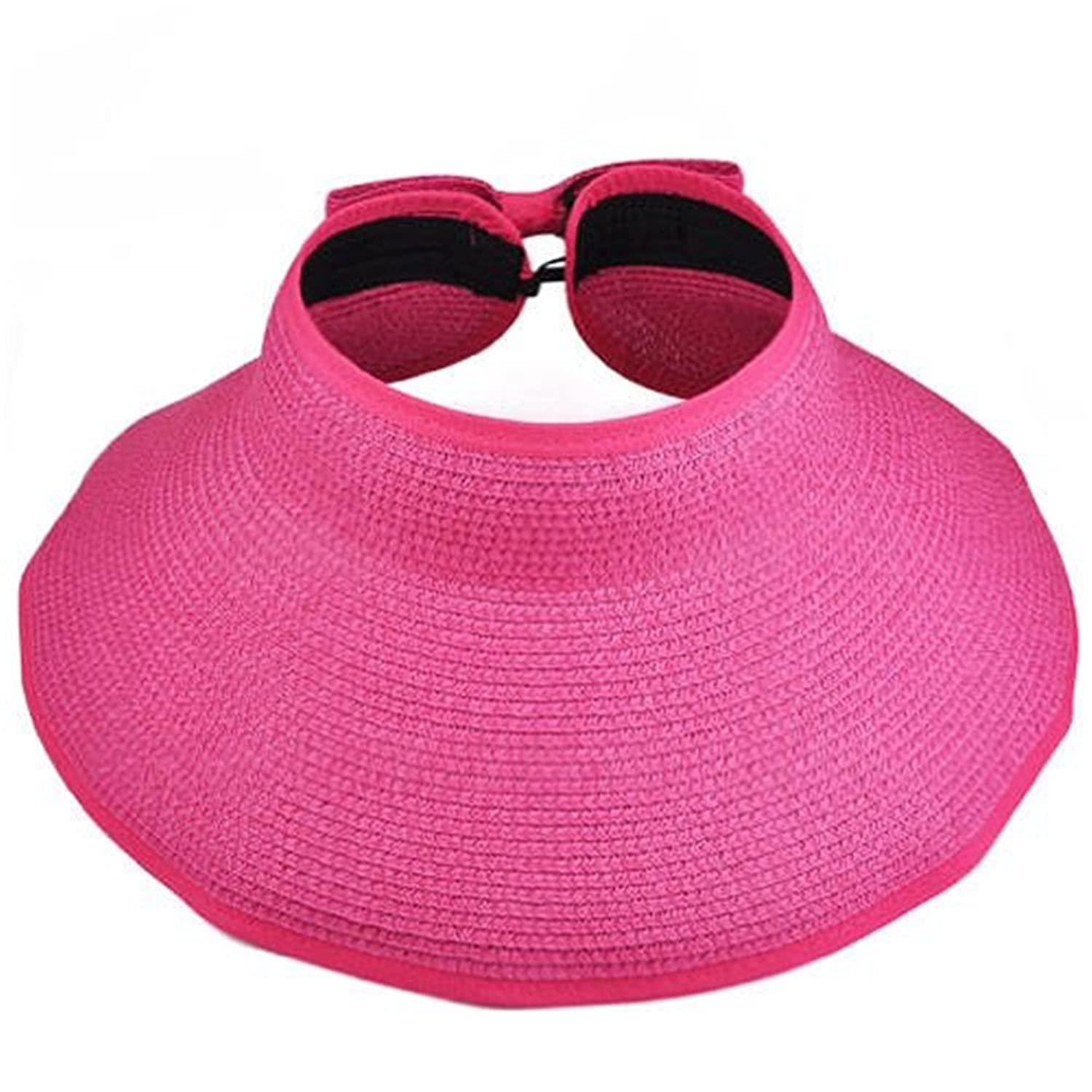 AStorePlus Women Sun Hat, Ladies UPF 50+ Summer Foldable Rool Up Wide Brim Sun Visor Beach Straw Hat