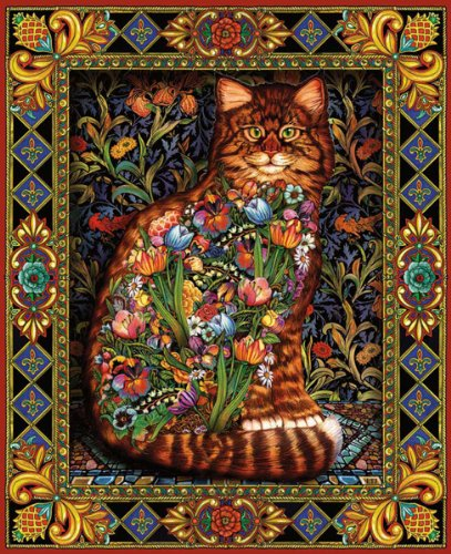 White Mountain Puzzles Tapestry Cat - 1000 Piece Jigsaw Puzzle ()