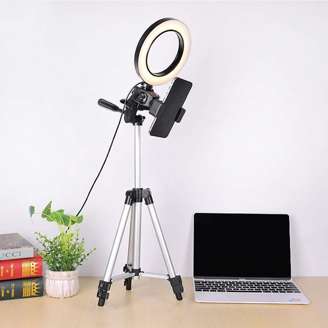 """WongPing 5.7"""" Ring Light with Tripod Stand for YouTube Video Selfie Live Stream and Makeup Dimmable LED Camera Light with Cellphone Holder Desktop 64 Led Lamp with 3 Modes & 10 Brightness Level"""