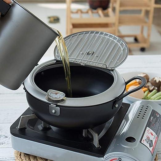 Freidora Hierro Con Tapa Temperatura Controlable Binaural Antiadherente Anodizado Cocina Utensilios Inducción Estufa General Propósito Fried Pot,24Cm: ...