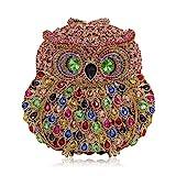 Rhinestone Owl Purse Clutch Handbag Prom Wedding Party Evening Bag for Women Crossbody Shoulder Bag (Multicolor 3)
