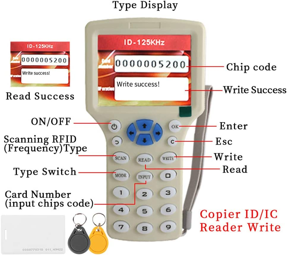 Handheld Rfid Nfc Card Copier Reader Writer Duplicator 10 Frequency With 125khz Id Cards Em4305/13.56mhz Uid Keyfobs  Camera & Photo