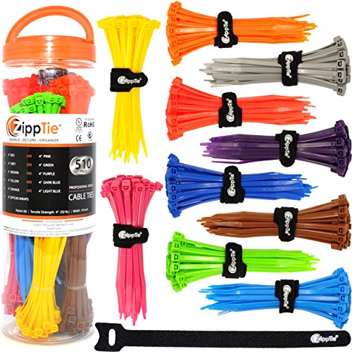 Colored Cable Ties by ZippTie | 510pc Cable Management Kit 4-inch Multi-colored Heavy Duty 50lb (Zip Ties) | Includes 10 Reusable ZippCro Tie Wraps (Ties Multicolored Zip)