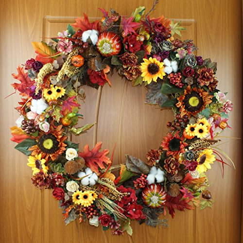 Pumpkin Wreath Harvest Silk Front Door Wreath Large Fall Wreath for Halloween&Thanksgiving 24 Inches by Forevercute (Image #1)