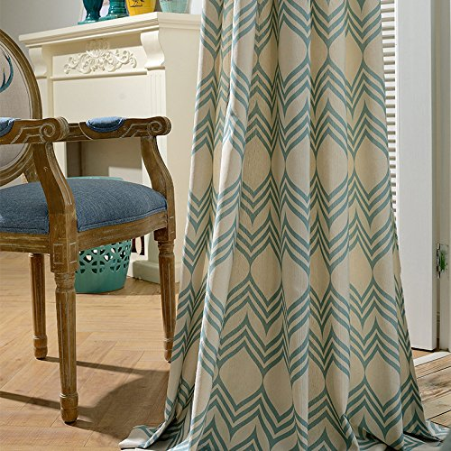 KoTing Green Geomerty Curtains Cotton Linen 1 Panel Art Geometric Decro Living Curtain Beige Drape Grommet Top 72W by 84L Inch For Sale