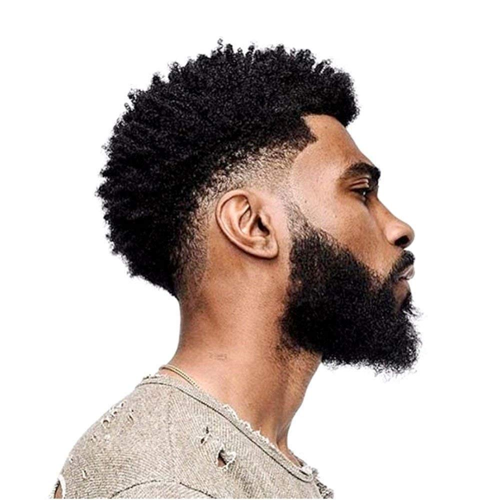 Amazon Com African Curly Full Lace Toupee For Black Men Afro Curl Short Wig Toupee Hairpiece 1b Beauty