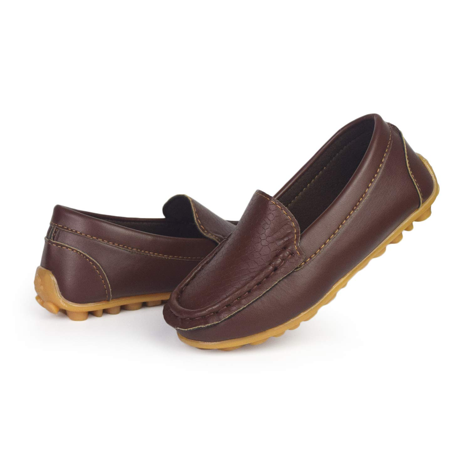 BENHERO Kids Boys Girls Loafers Slip on Soft Synthetic Leather Boat Dress Shoes Flat(5 M US Toddler,A-Brown)