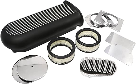 Assault Racing Products A8001-3 Polished Aluminum Hilborn Style Finned Hood Air Scoop Kit Single Dual 4 BBL Carb