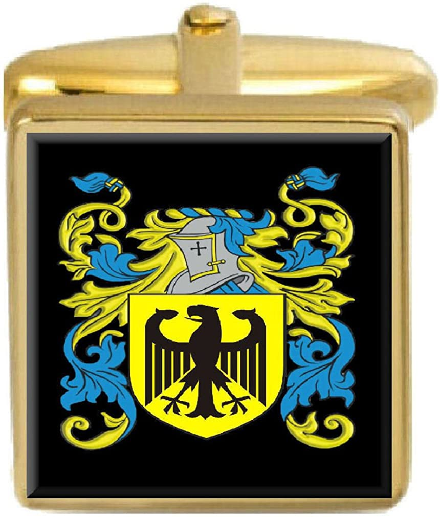 Select Gifts Linsell England Family Crest Surname Coat Of Arms Gold Cufflinks Engraved Box