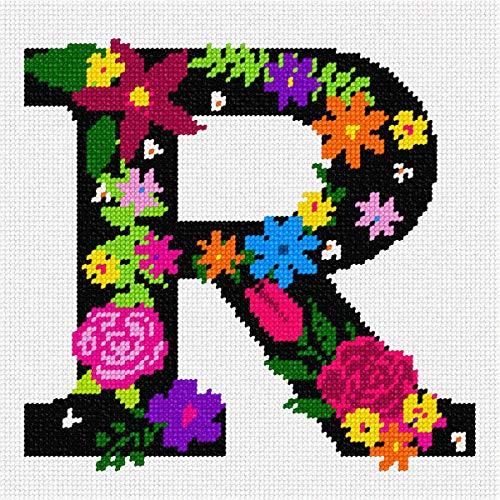 pepita Letter R Primary Floral Needlepoint Kit