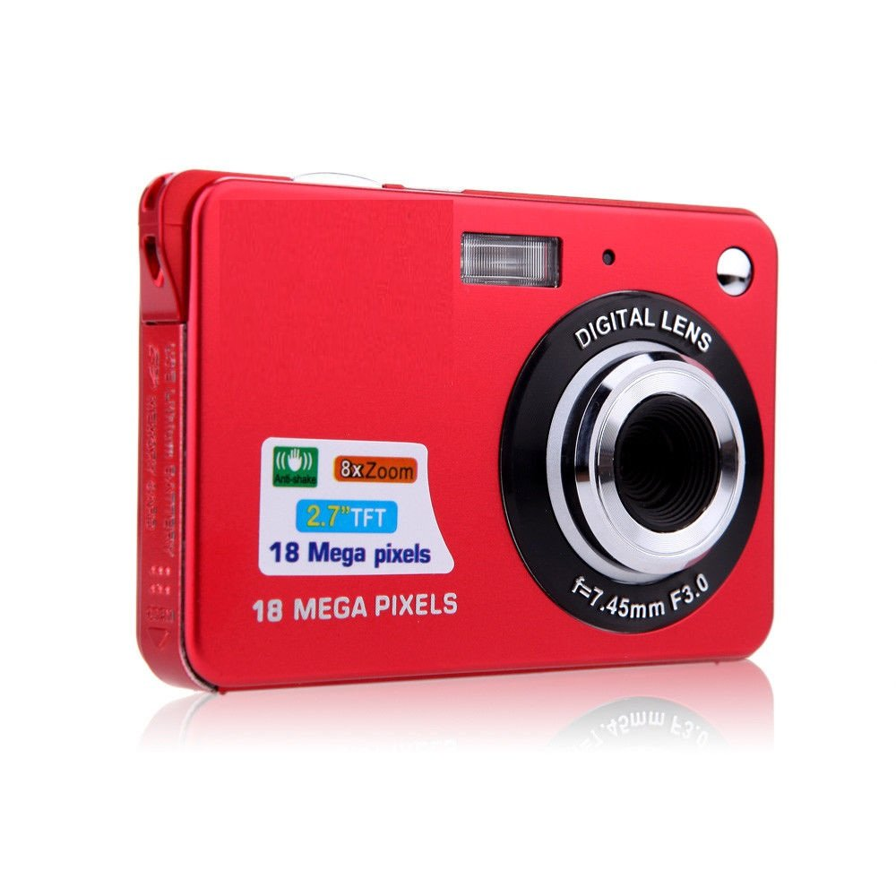 Digital Camera, Lyyes 2.7'' Mini Camera HD 720P Digital Point Shoot Camera Camcorder 8X Zoom Camera for Kids and Gifts (Red)