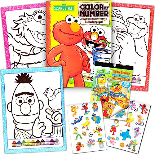 Sesame Street Stickers Toddler Coloring Book Set ~ Color By -