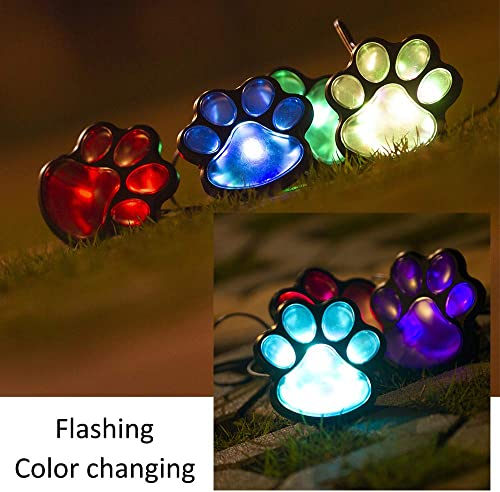LED Paw Print Solar Lights, Set of 4 Dog,Cat,Puppy Animal Garden Lights Paw Lamp for Pathway,Lawn,Yard,Outdoor Decorations-Solar Paw Colorful