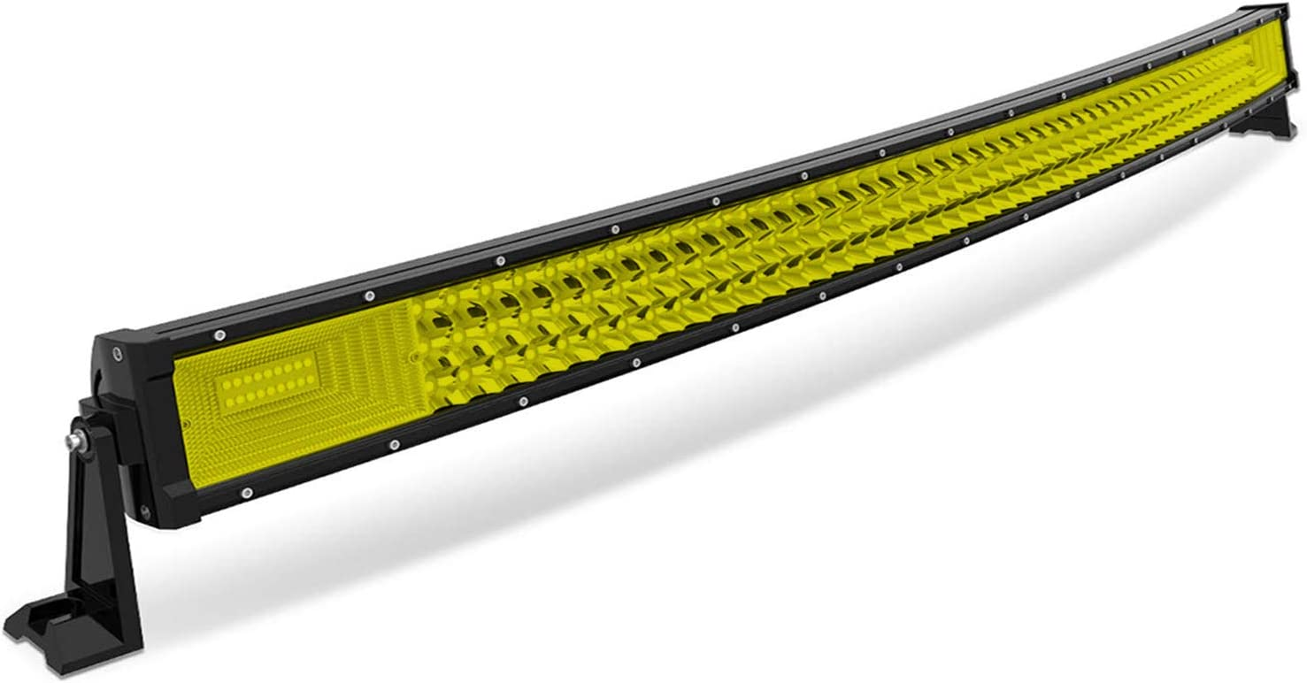 AUXTINGS 22 inch 270W Curved Triple Row Amber Yellow Led Light Bar Flood Spot Driving Lights Off Road Lights,3000K 12-24V