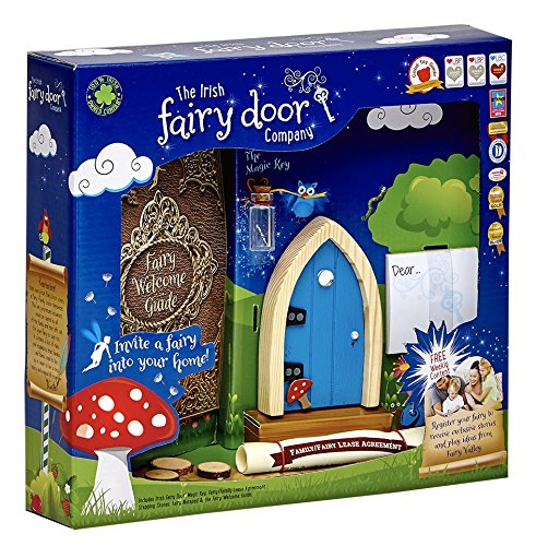 The Irish Fairy Door Company - Blue Arched Door - Includes Magic Key in a Bottle, 3 Stepping Stones, Fairy Lease Agreement, Notepad, and Fairy Welcome Guide - Toy Story Costumes Ireland