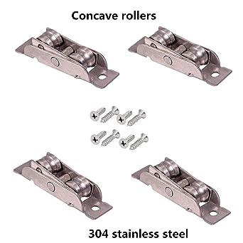 Stillshine 4 unidades Tandem rollos corredera rueda montaje de acero inoxidable 304 fabricado para ventanas correderas y puerta corredera, 16mm Breite, Konkave rollen, 4: Amazon.es: Industria, empresas y ciencia