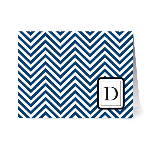 Price comparison product image Modern Chevron 'D' Navy Monogram - 24 Cards - Blank Cards w/ Grey Envelopes Included