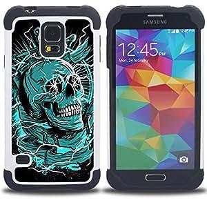 For Samsung Galaxy S5 I9600 G9009 G9008V - GREEN DEATH BLACK SKULL DAGGER Dual Layer caso de Shell HUELGA Impacto pata de cabra con im??genes gr??ficas Steam - Funny Shop -