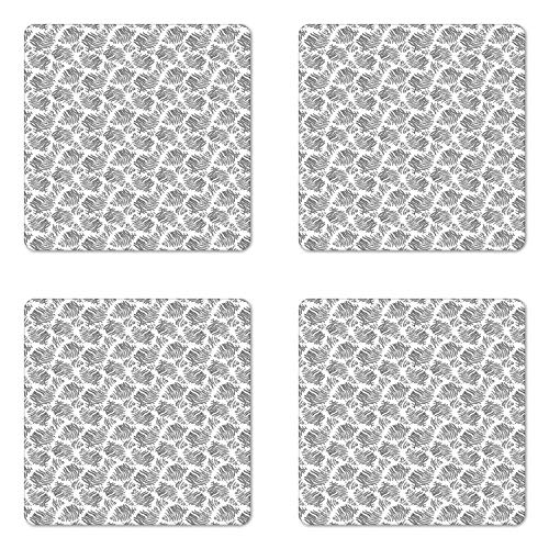 Garden Square Coasters Botanic - Lunarable Botanical Coaster Set of Four, Curlicue Fern Botanic Branch Foliage Garden Art Greyscale Illustration, Square Hardboard Gloss Coasters for Drinks, Dark Grey and White