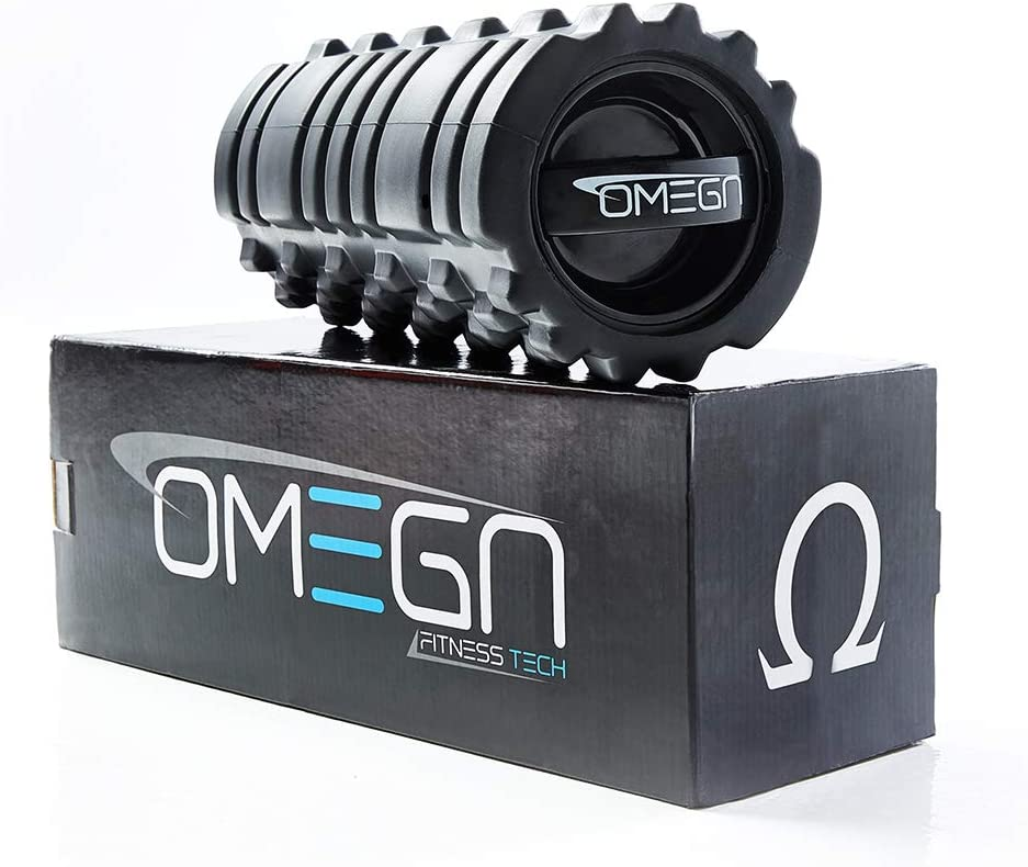 Omega 3-Speed Vibrating Foam Roller – Deep Tissue Massage, Workout Recovery, Physical Therapy, and Myofacial Release