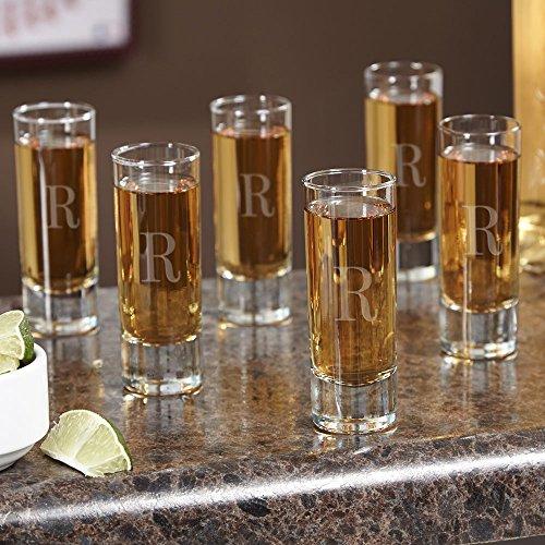 Tall Personalized Shot Glasses, Set of Six (Customizable -