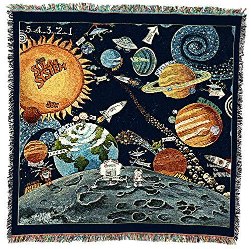 Pure Country Weavers Solar System Blanket and Woven Tapestry Wall Hanging with Fringe 54x54 Cotton USA
