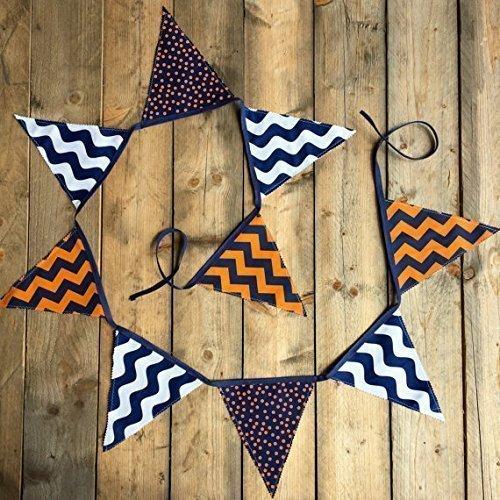 Handmade Navy Blue Orange Fabric Banner by Sara Sews (Spirit School Pennants)