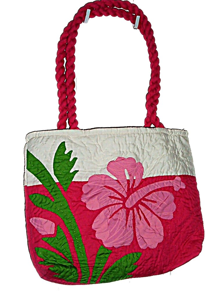 HAWAIIAN HIBISCUS FLOWER FLORAL QUILTED PUALANI BAG PURSE