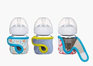 4oz (Set of 3 pcs) Miracle Bean Neoprene Baby Bottle Sleeves – Adjustable Sleeves. Glass Bottles – Improved Heat/Cold Retention – Moisture, Non-Slip Grip – Fox, Elephant and New Color Heather Grey