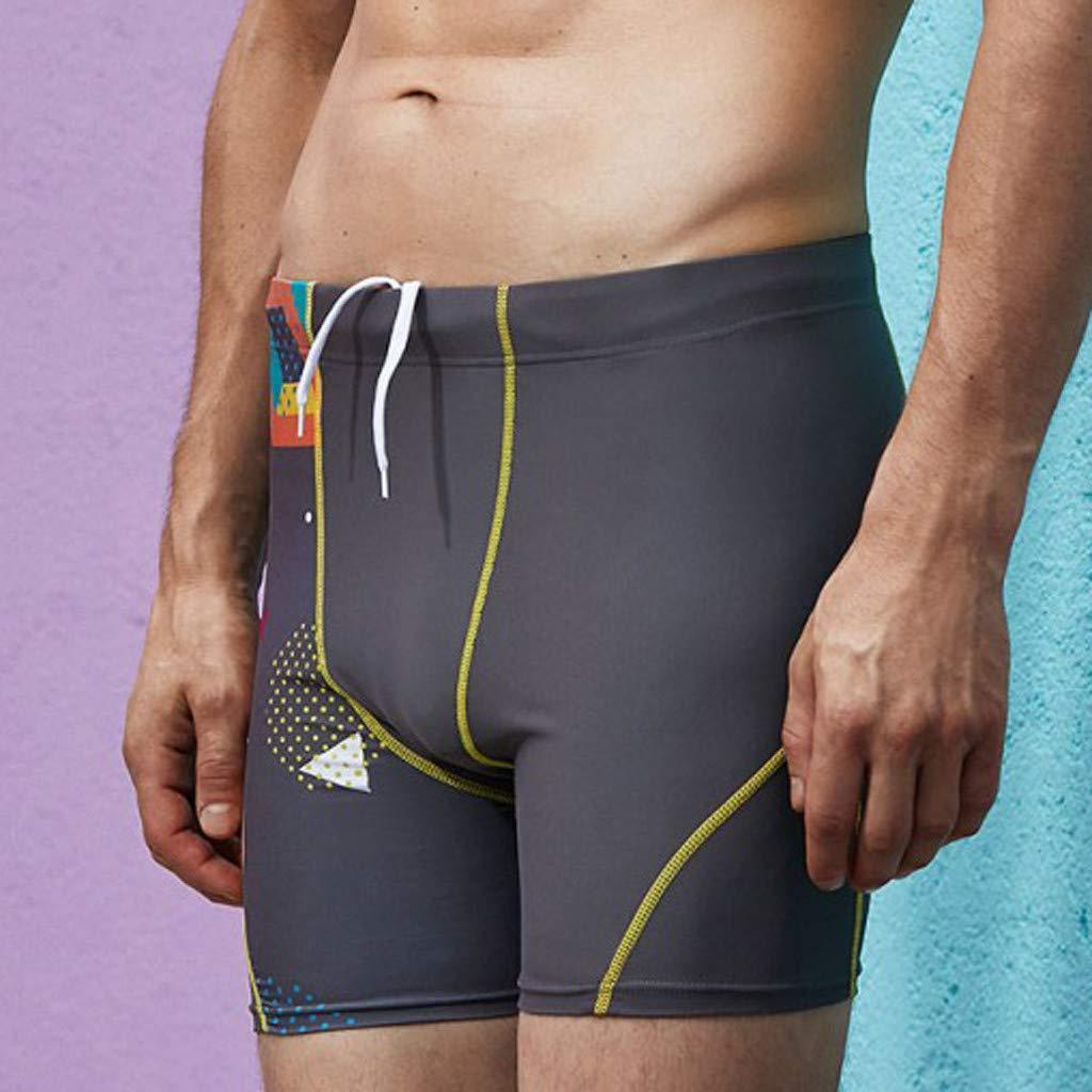 Molyveva Fashion Solid Color Boxer Fitness Swimming Trunks for Men