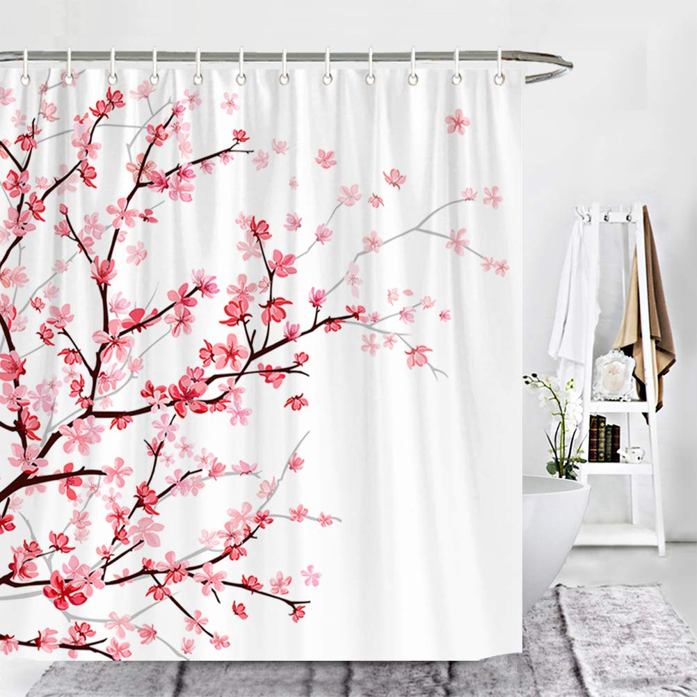 Wencal Pink Cherry Blossom Shower Curtain for Bathroom with 12 Hooks Floral Sakura 72 x 72 Inches