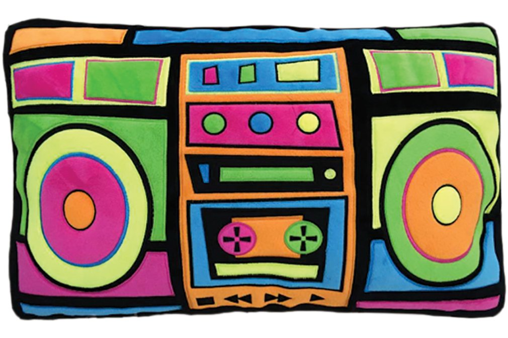 iscream Old School! Boombox Shaped Fleece 21'' x 13'' Microbead Pillow Embroidered Accents