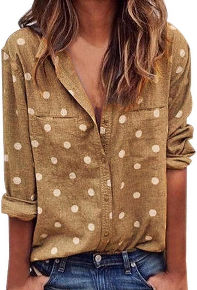 Blusa de Cuello V Suelto para Mujer Tallas Grandes, Gusspower ...