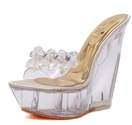 a8492a959b714 Mujer Sandalias Tacón de Cristal de Las Mujeres Cuñas de Cristal Zapatillas  Chanclas Impermeables Sandalias Damas Niñas Huaishu  Amazon.es  Zapatos y  ...