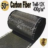 50 FT x 12'' - CARBON FIBER FABRIC-2x2 TWILL WEAVE-12K/400g