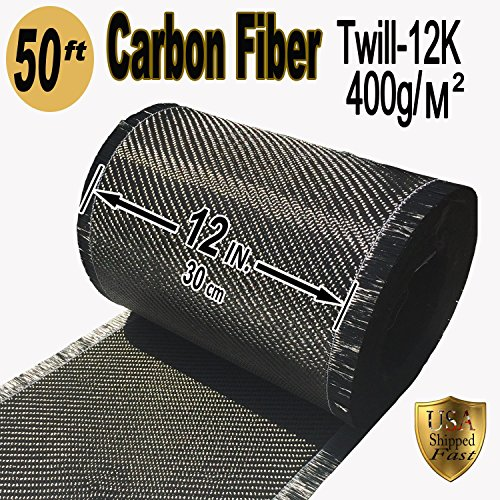 50 FT x 12'' - CARBON FIBER FABRIC-2x2 TWILL WEAVE-12K/400g by Carbon Fiber Fabric-Twill Weave-12K/400g