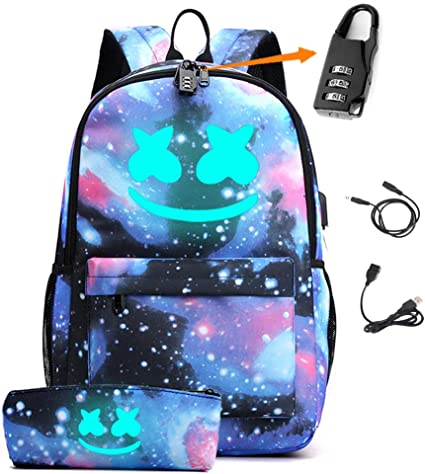 Smile Luminous Backpack with USB Charging Port & Anti-theft Lock & Pencil Case for School, Unisex DJ School Bookbag Daypack Laptop Backpack (Galaxy)