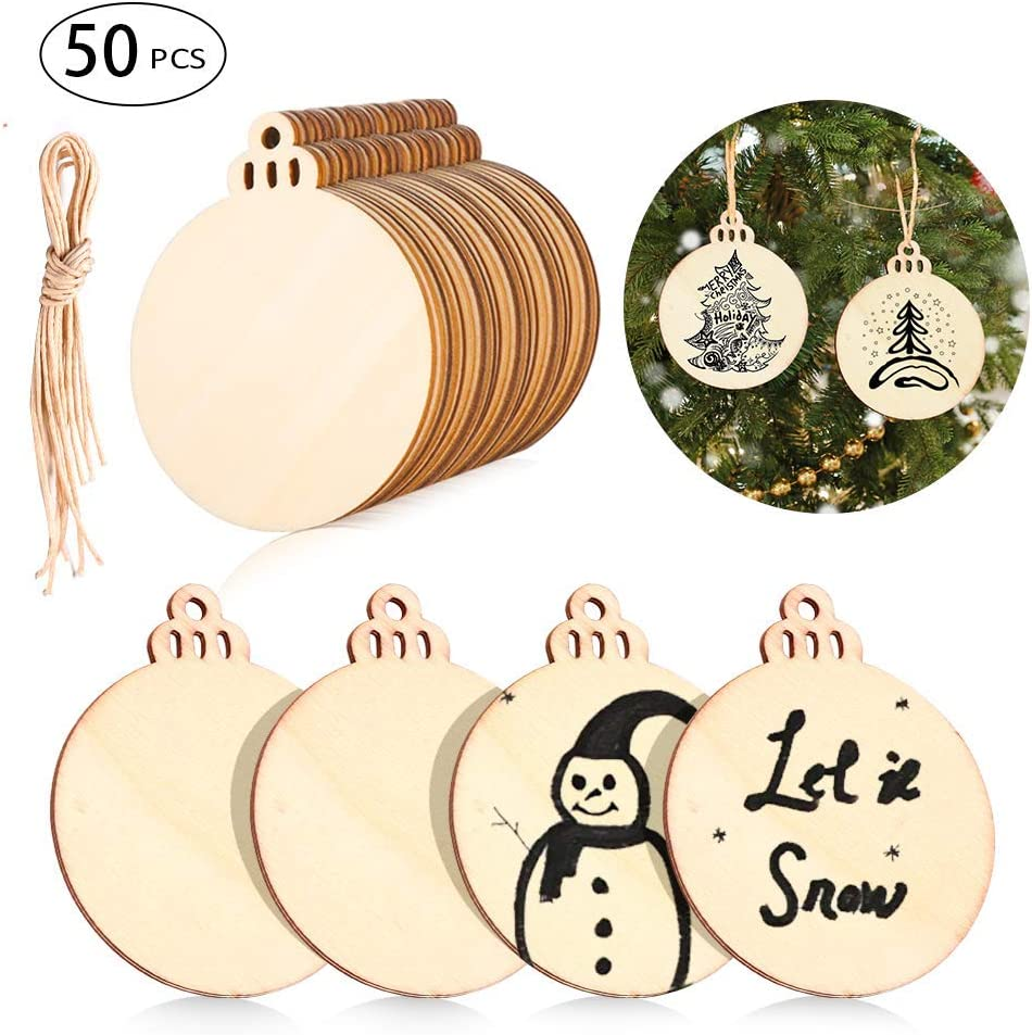 50Pcs Natural Wood Slices DIY Wooden Unfinished for Home Xmas Decoration