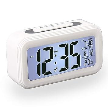 Reloj Despertador LCD Digital, Multi-Funciones Alarma Inteligente Muestra Hora, Temperatura, Fecha Silencioso como Regalo Creativo para los Viejos ...