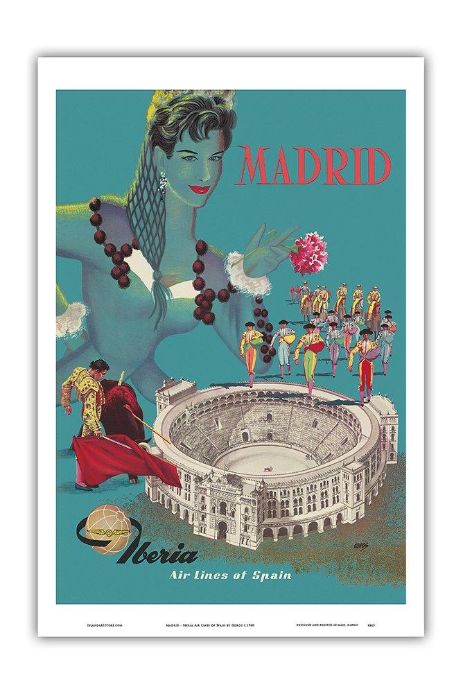 Bullfighting Arena 12in x 18in Iberia Air Lines of Spain Vintage Airline Travel Poster by Gorosc.1960 Plaza de Toros de Las Ventas Master Art Print Pacifica Island Art Madrid