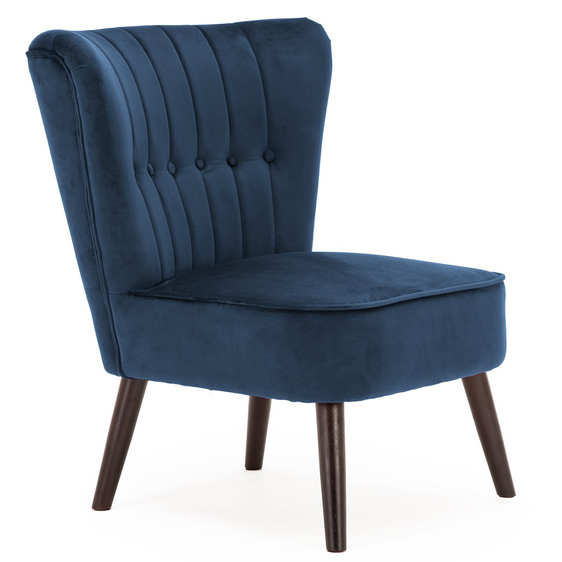 ELINE VELVET BUTTON BACK RETRO OCCASIONAL BEDROOM LIVING ROOM FABRIC ACCENT CHAIR (Midnight Blue) Cosy Chair