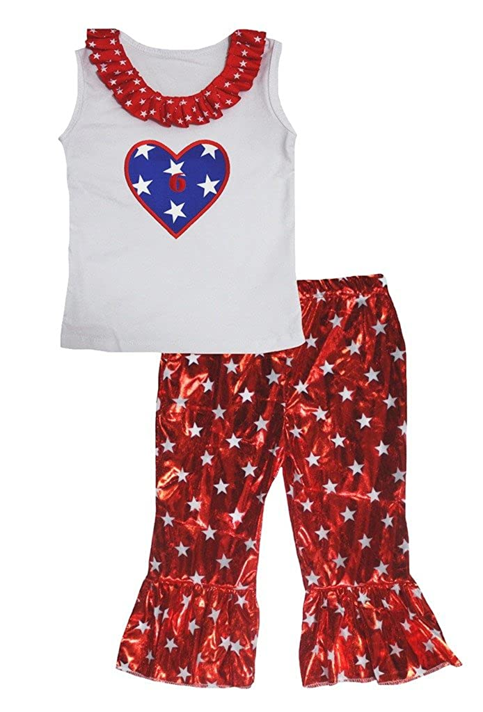 Petitebella Stars Heart 6 White Cotton Shirt Red Stars Shiny Pant Set Girl 1-8y